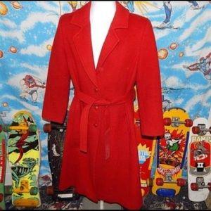 Pendleton Red Ladies Long Overcoat - sz 10 Vintage